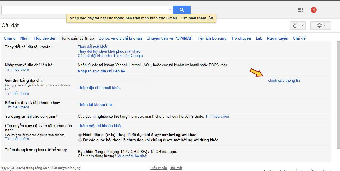 Cách viết email xin việc: Hướng dẫn cài đặt tên hiển thị Gmail - bước 2