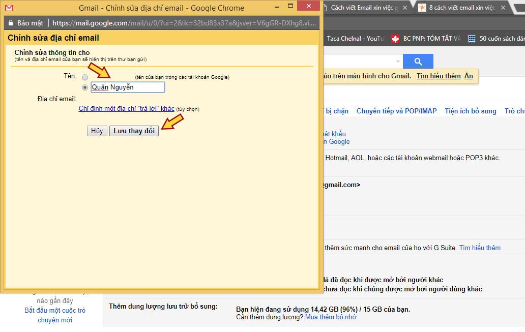 Cách viết email xin việc: Hướng dẫn cài đặt tên hiển thị Gmail - bước 3