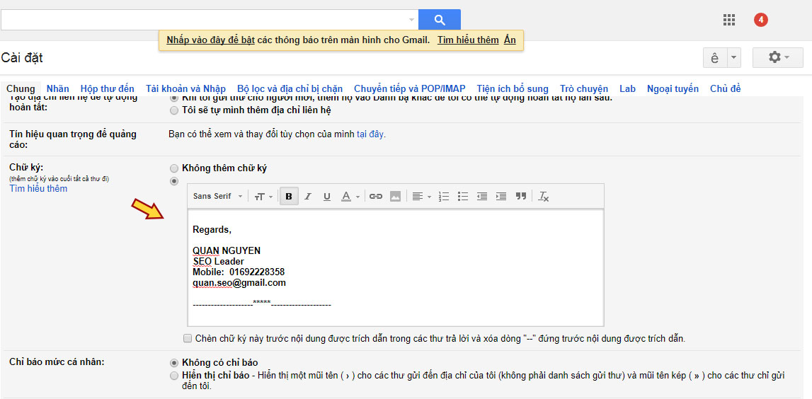 Hướng dẫn cài đặt chữ ký trong Gmail