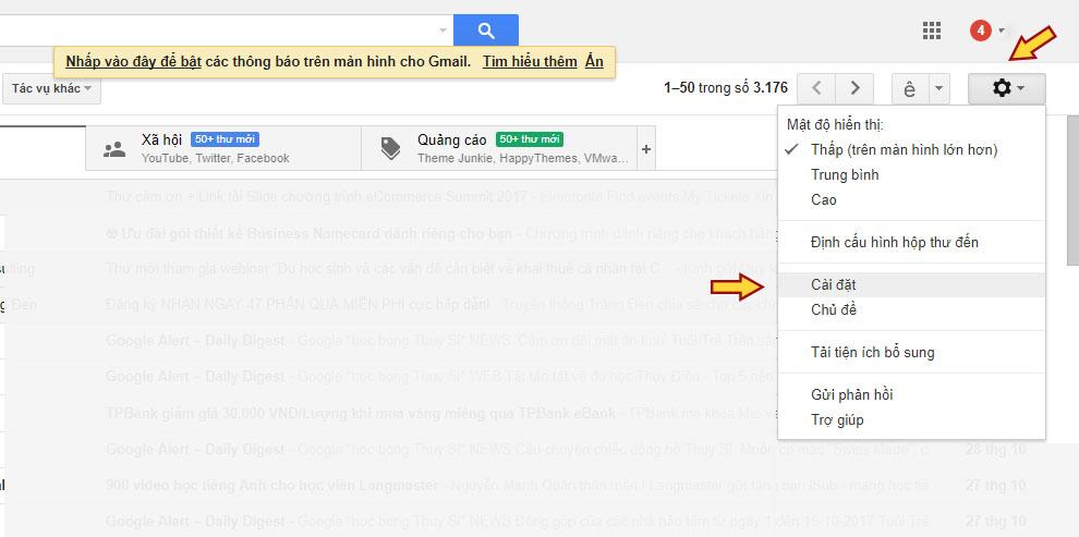 Cách viết email xin việc: Hướng dẫn cài đặt tên hiển thị Gmail - bước 1
