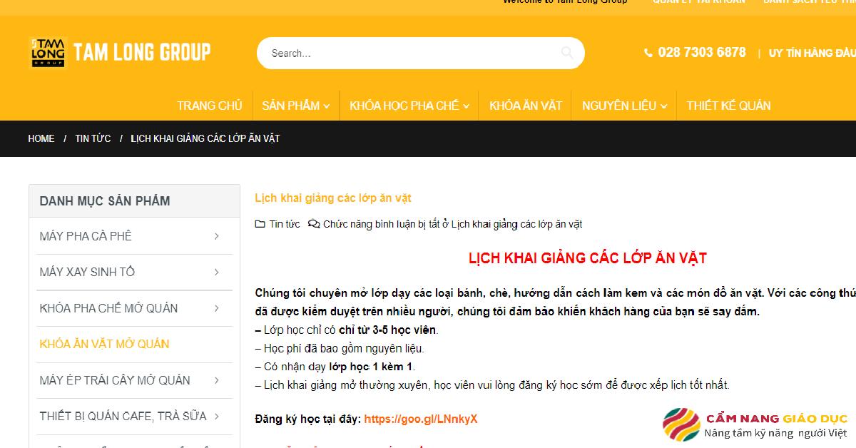Website trường Tam Long.