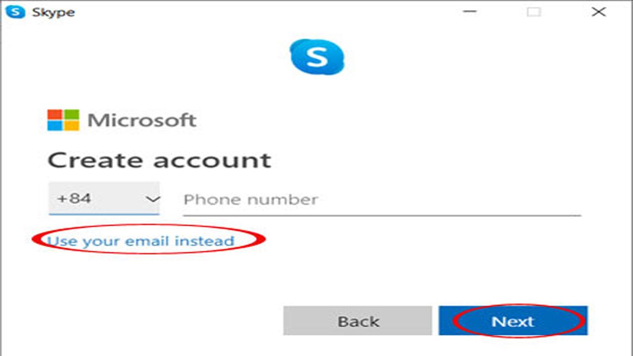 Nhấn Use your email instead để tạo tài khoản