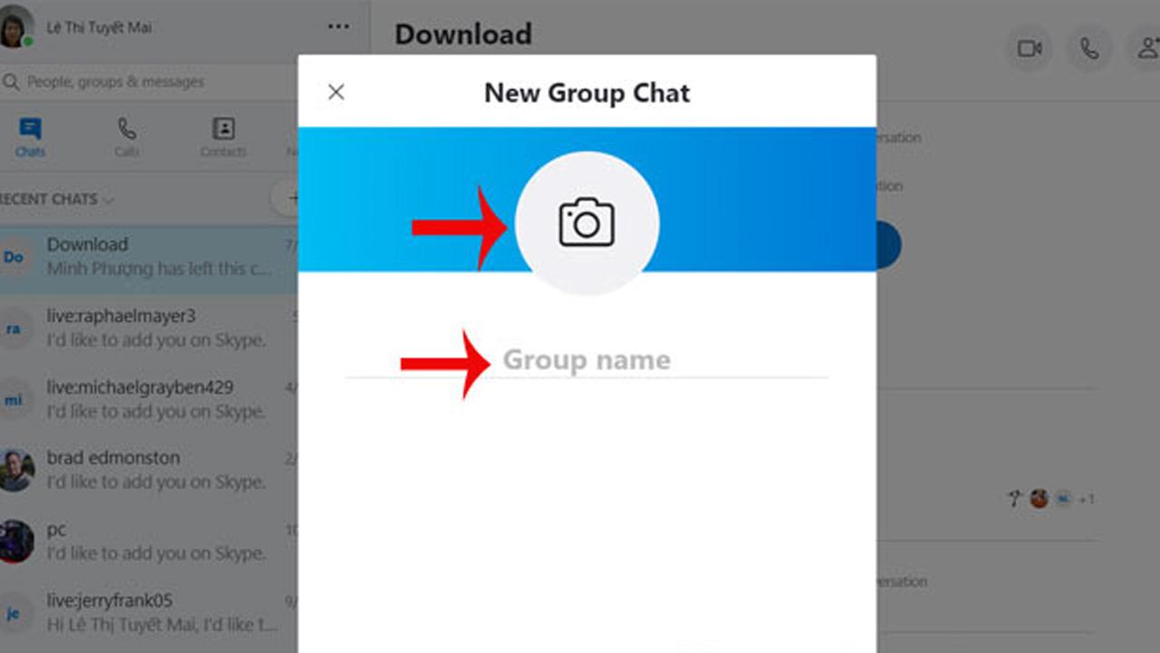 Đặt tên và thêm ảnh đại diện cho nhóm