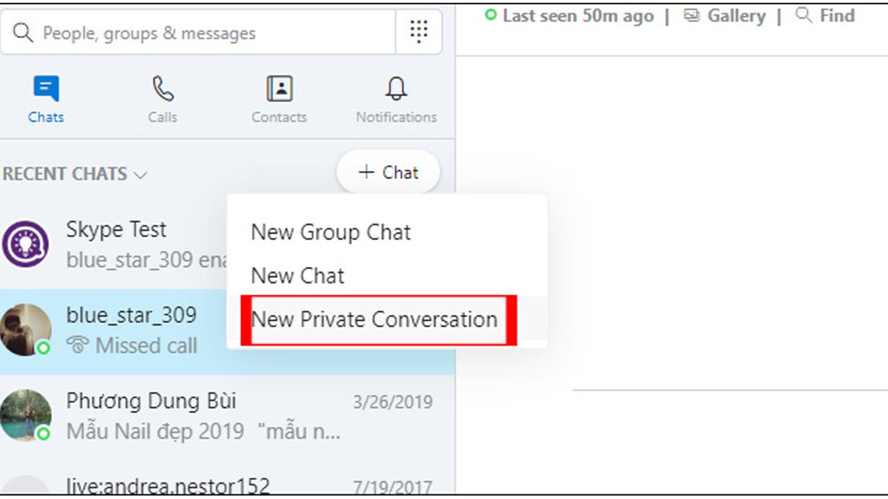 Tạo cuộc trò chuyện bí mật
