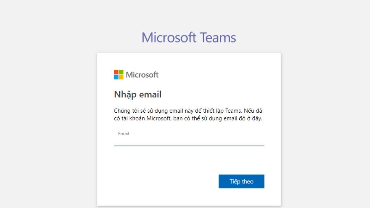 Nhập Email tài khoản Microsoft cá nhân của bạn hoặc email do nhà trường cung cấp để đăng nhập