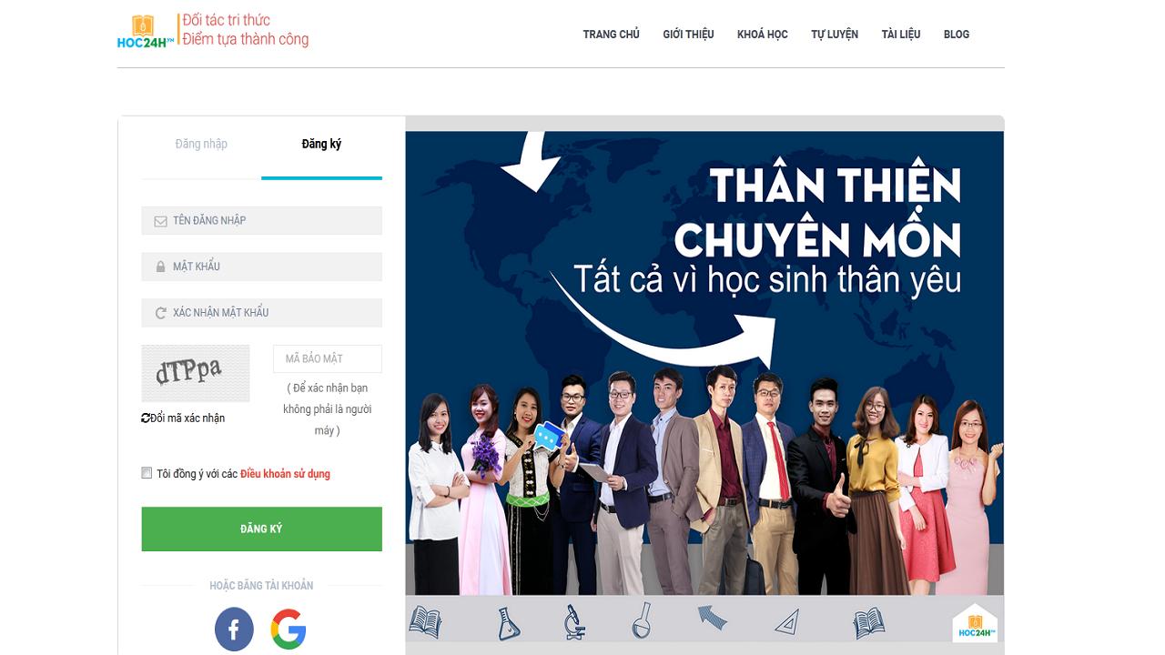 Đăng ký tài khoản trên website: hoc24h.vn
