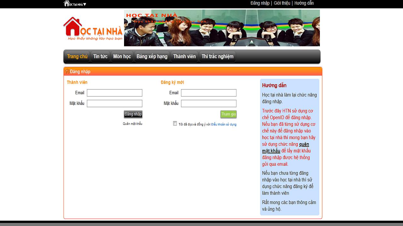 Để đăng ký học và sử dụng website hoctainha.vn