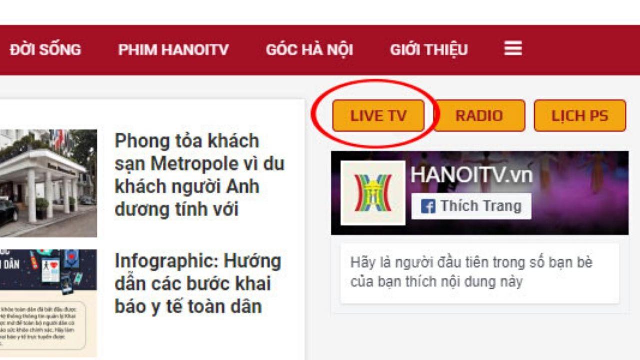 Nhấn Live TV để xem trực tuyến chương trình dạy học của ĐTH Hà Nội