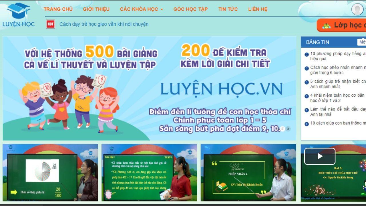 Luyenhoc.vn với giao diện dễ sử dụng