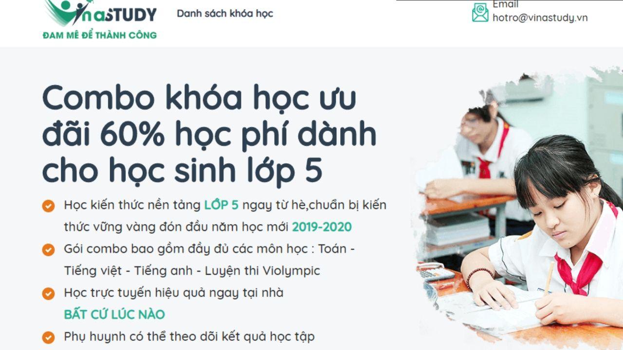 Vinastudy có nhiều combo khóa học online ưu đãi dành cho học sinh lớp 5