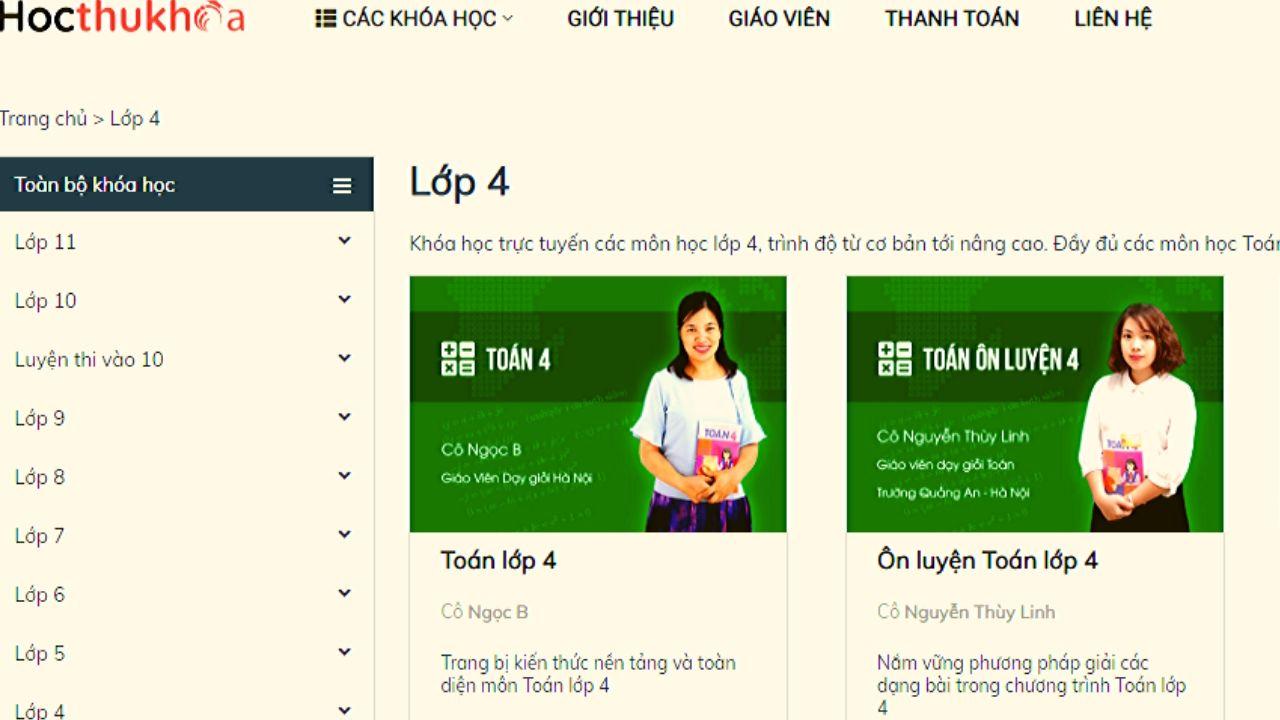 Hocthukhoa.vn có các khóa học trực tuyến lớp 4 chất lượng cao