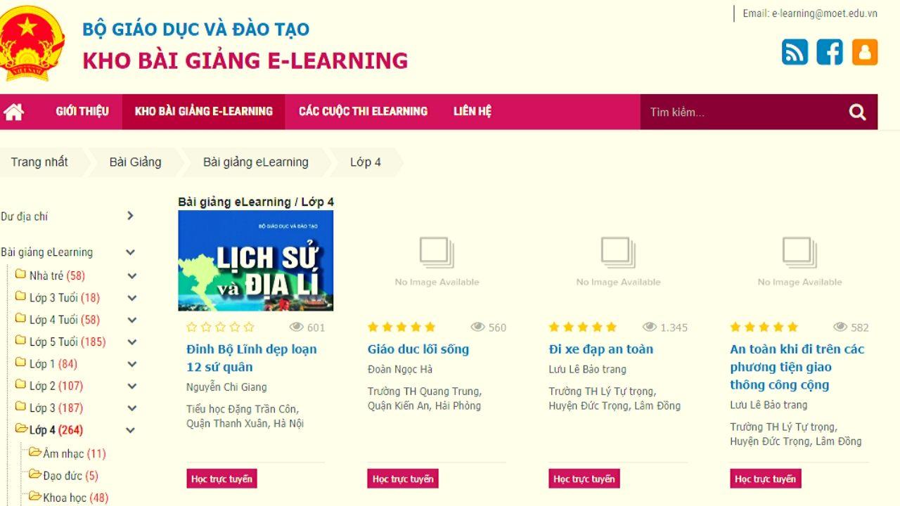 Kho bài giảng e-learning dành cho học sinh lớp 4 trên website của Bộ Giáo Dục