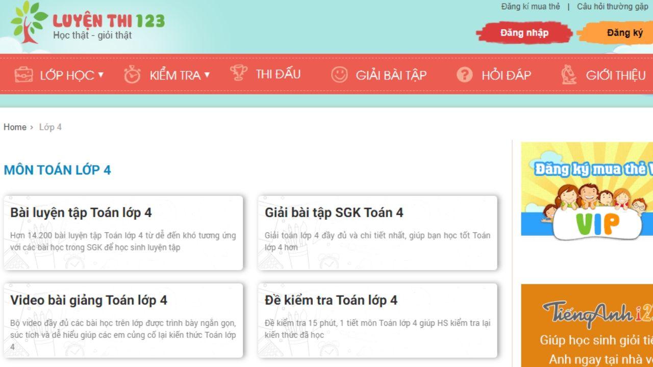 Luyenthi123.com là website học onlinelớp 4 rất nổi tiếng, học và ôn thi hiệu quả 3 môn Toán, Tiếng Việt và Tiếng Anh