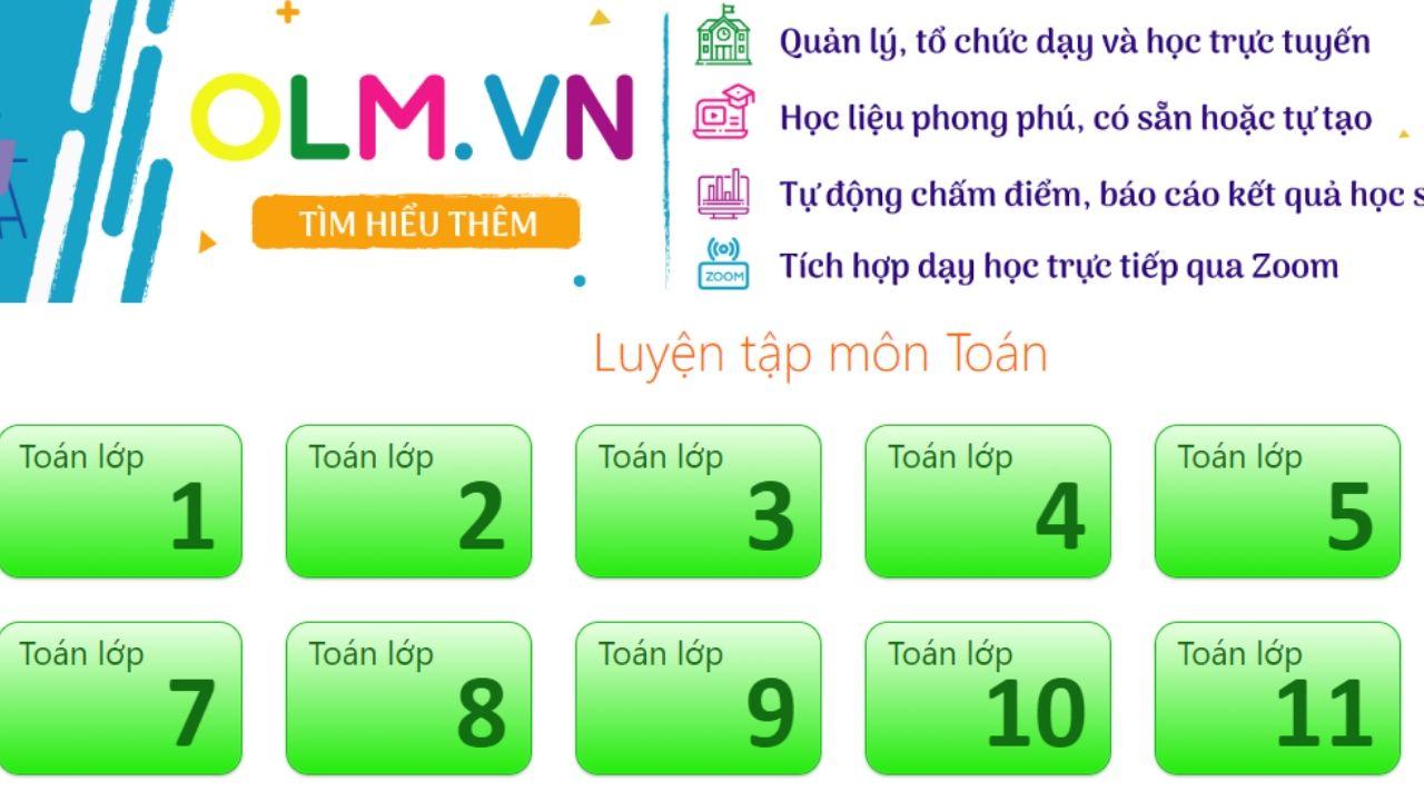 Olm.vn: website học online Toán lớp 5 và tất cả các khối khác