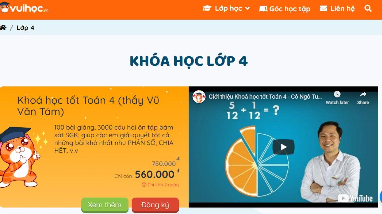 Trường học online số 1 cho học sinh lớp 4: Vuihoc.vn