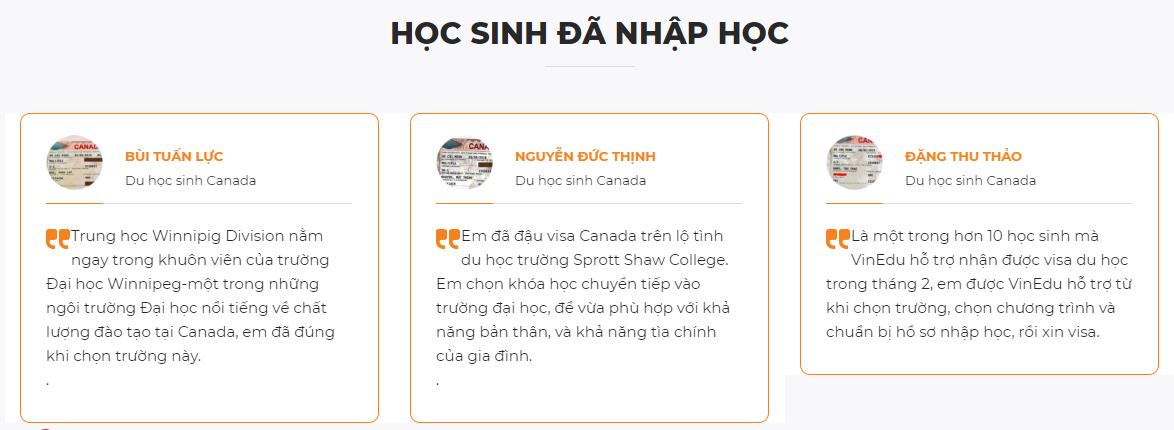 reiview của các bạn đã từng du học Canada tại Vinedu