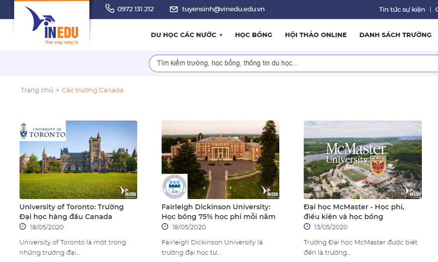 Trung tâm luôn cập nhật các chương trình, học bổng mới nhất của các trường tại Canada